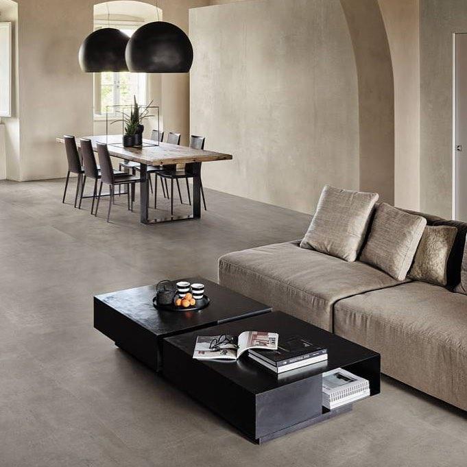 Concrete-effect porcelain tiles