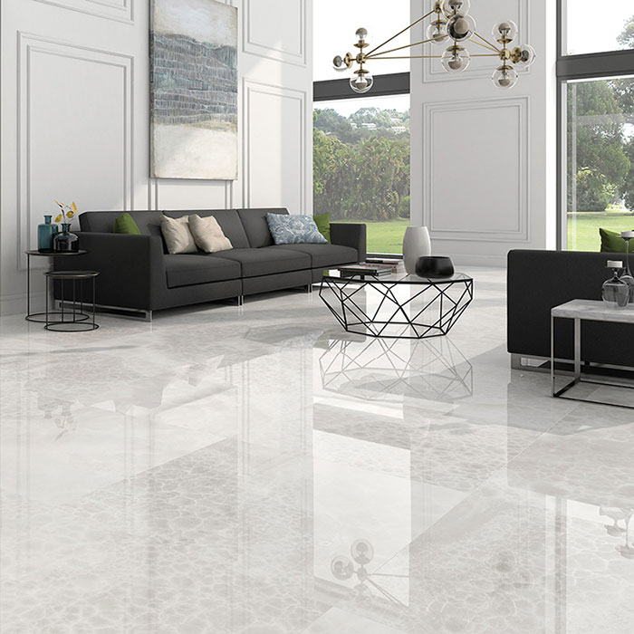 White marble-effects porcelain tiles